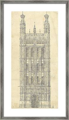 Drawing For The Houses Of Parliament Framed Print by Sir Charles Barry