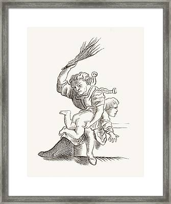 Drawing Of A Man Spanking A Child Framed Print by Vintage Design Pics