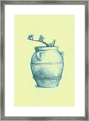 Drawing Of A Tree Branch In A Flower Pot Framed Print