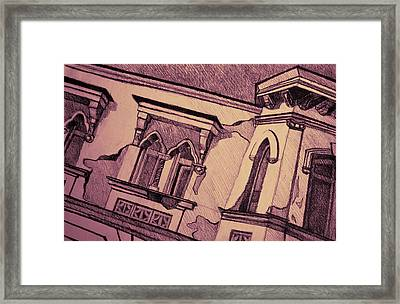 Drawing Of An Old Venetian Palace Framed Print