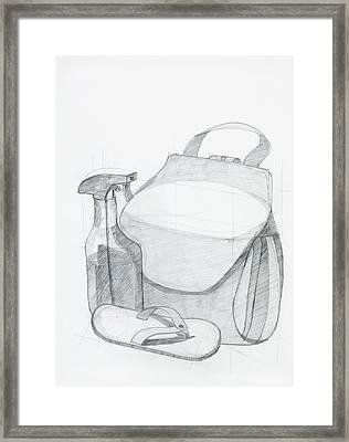 Drawing Of Beach Objects Composition Framed Print