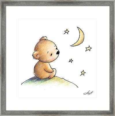 Drawing Of Cute Teddy Bear Watching The Star Framed Print by Anna Abramska