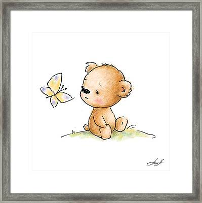 Drawing Of Cute Teddy Bear With Butterfly Framed Print by Anna Abramska