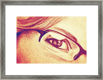 Drawing Of Girl With Glasses, Detail. Framed Print by Oana Unciuleanu