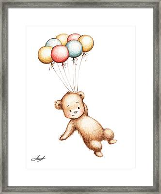 Drawing Of Teddy Bear Flying With Balloons Framed Print by Anna Abramska