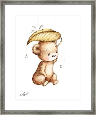 Drawing Of Teddy Bear Hiding From The Rain Under A Big Green Lea Framed Print by Anna Abramska