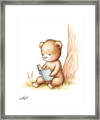 Drawing Of Teddy Bear Reading A Book Under Tree Framed Print by Anna Abramska