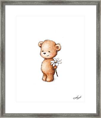 Drawing Of Teddy Bear With Daisy Framed Print