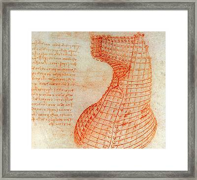 Drawing Of The Ironwork Casting Mould For The Head Of The Sforza Horse Framed Print by Leonardo Da Vinci
