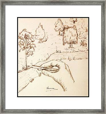 Drawing The Valley  Framed Print by Nermine Hanna