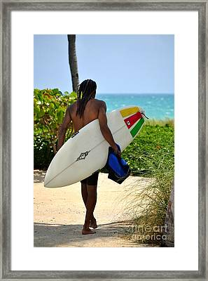 Dreadlocks Surfer Dude Framed Print by Rene Triay Photography