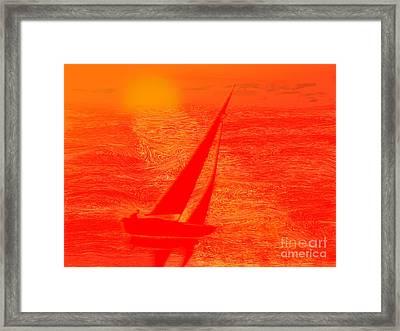 Dream Boat Digital Painting Framed Print by Conni Schaftenaar