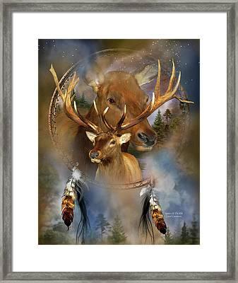 Dream Catcher - Spirit Of The Elk Framed Print by Carol Cavalaris
