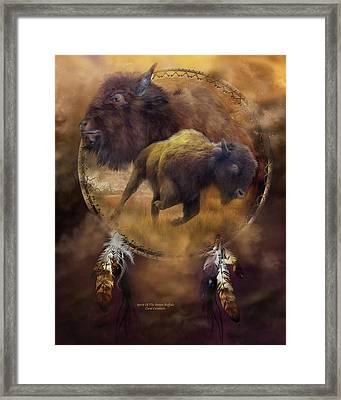 Dream Catcher - Spirit Of The Brown Buffalo Framed Print by Carol Cavalaris