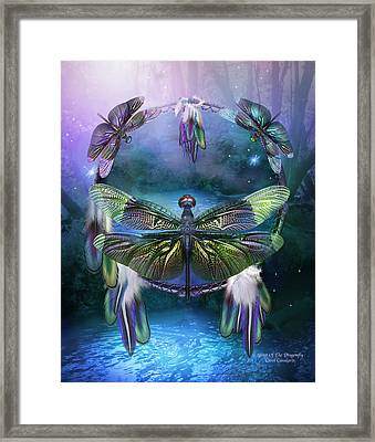Dream Catcher - Spirit Of The Dragonfly Framed Print by Carol Cavalaris