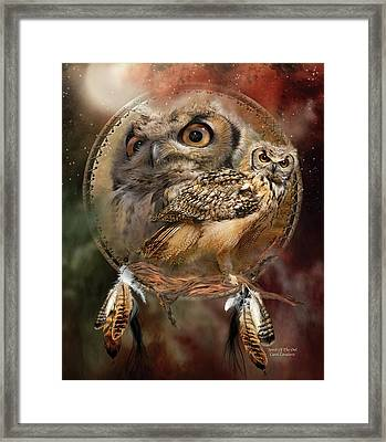 Framed Print featuring the mixed media Dream Catcher - Spirit Of The Owl by Carol Cavalaris