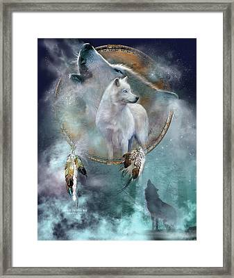 Dream Catcher - Spirit Of The White Wolf Framed Print by Carol Cavalaris