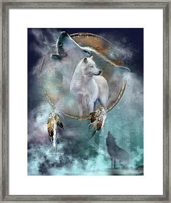 Dream Catcher - Spirit Of The White Wolf Framed Print