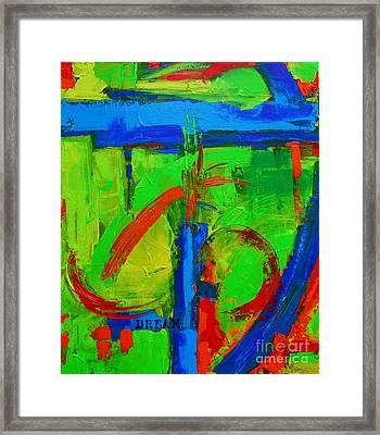 Dream In Green Modern Abstract Art Framed Print by Patricia Awapara
