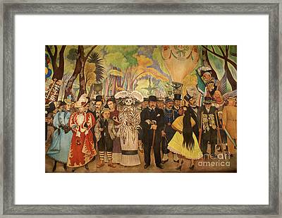 Dream In The Alameda Diego Rivera Mexico City Framed Print by John  Mitchell