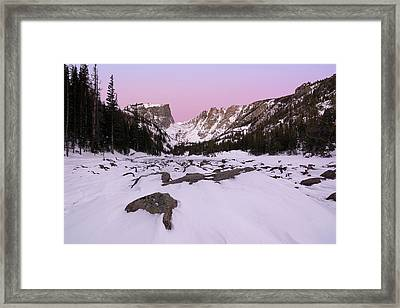 Framed Print featuring the photograph Dream Lake - Pre Dawn by Aaron Spong