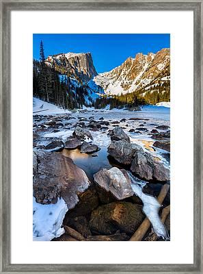 Dream Lake Sunrise Framed Print by Andres Leon