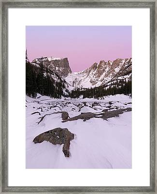 Framed Print featuring the photograph Dream Lake Winter Vertical by Aaron Spong