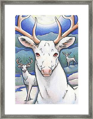 Dream Of The White Stag Framed Print by Amy S Turner