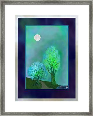 Dream Trees At Twilight With Borders Framed Print by Mathilde Vhargon