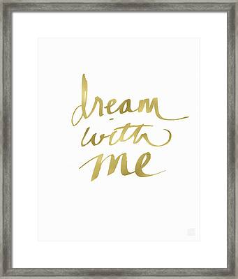 Dream With Me Gold- Art By Linda Woods Framed Print