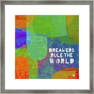Framed Print featuring the painting Dreamers Rule by Lisa Weedn