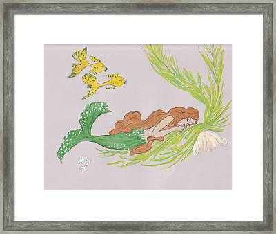 Dreaming Mermaid Framed Print by Rosalie Scanlon