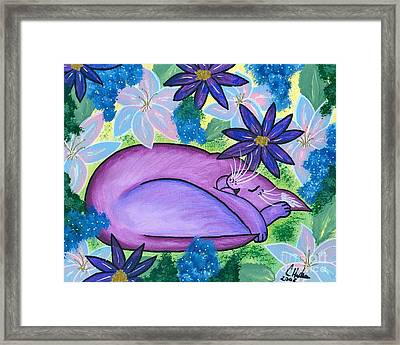 Framed Print featuring the painting Dreaming Sleeping Purple Cat by Carrie Hawks