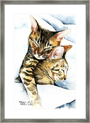 Dreamland - Bengal And Savannah Cat Painting Framed Print