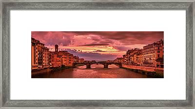 Dreamlike Sunset From Ponte Vecchio Framed Print