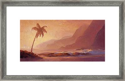 Framed Print featuring the painting Dreams Of Hawaii - Tropical Beach Sunset Paradise Landscape Painting by Karen Whitworth