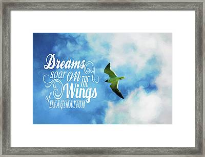 Framed Print featuring the photograph Dreams On Wings by Jan Amiss Photography