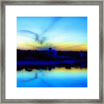 Dreamscape Blue Water Sunset  Framed Print by Nada Frazier
