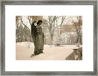 Dreamy Angel Monument Surreal Sepia Nature Framed Print