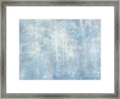 Dreamy Blue Stars Winter Snow Woodlands Nature Print- Pastel Blue Trees Nature Decor Framed Print by Kathy Fornal