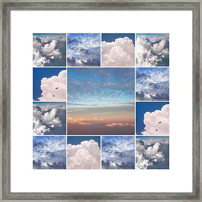 Framed Print featuring the photograph Dreamy Clouds Collage by Jenny Rainbow