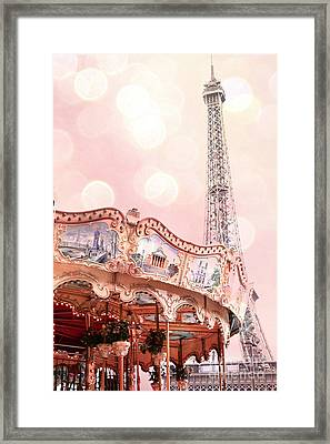 Dreamy Eiffel Tower Carousel Merry Go Round - Paris Baby Girl Nursery Decor  Framed Print by Kathy Fornal
