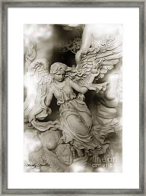 Dreamy Ethereal Angel Wings With Cherubs Framed Print