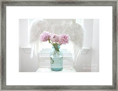 Dreamy Ethereal Angel Wings Pink Peonies Vintage Mason Aqua Blue Ball Jar - Shabby Chic Pink Peonies Framed Print by Kathy Fornal