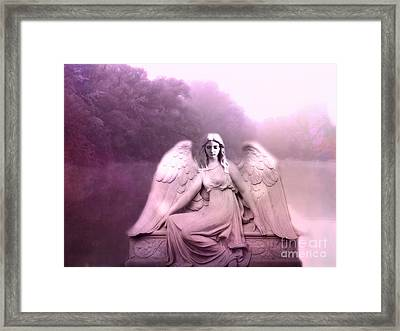 Dreamy Ethereal Pink Fantasy Peaceful Angel In Nature Framed Print