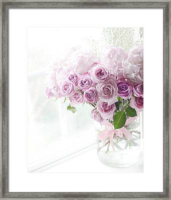 Dreamy Ethereal Pink Lavender Shabby Chic Romantic Roses - Pastel Roses In Window Framed Print by Kathy Fornal