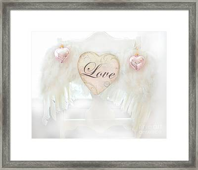 Dreamy Ethereal White Angel Wings Romantic Love Heart - Valentine Love Heart Pink White Angel Wings  Framed Print by Kathy Fornal