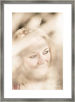 Dreamy Eyes Through Wicker Lines Framed Print by Jorgo Photography - Wall Art Gallery