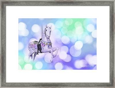 Dreamy Pastel Blue Carousel Horse Framed Print by Delphimages Photo Creations