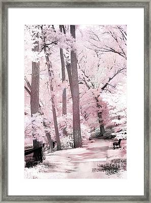 Dreamy Pink And White Infrared Park Woodlands- Infrared Pink Trees Park Bench Landscape Framed Print by Kathy Fornal